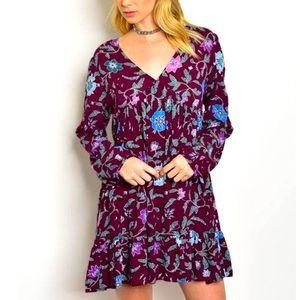 re:named Halter-Tie Floral Mini Dress - Size: L